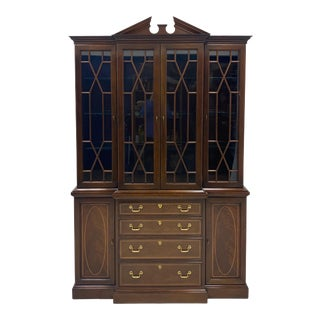 Vintage Hickory White Inlaid Mahogany Federal Style Library or China Cabinet For Sale