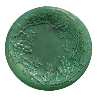 Antique Wedgewood Majolica Green Glazed Grapevine Plate