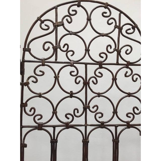 Hand-Forged Iron Three Panels Folding Moorish Screen For Sale - Image 4 of 9