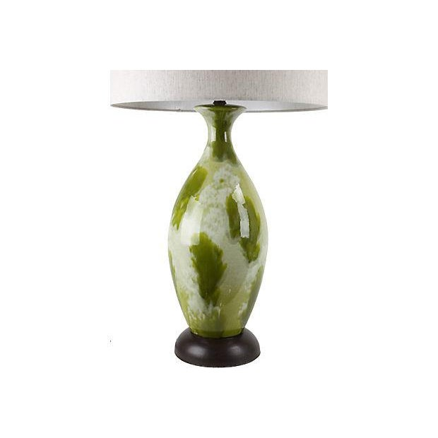 Boho Chic Mid-Century Green Drip-Glaze Lamp For Sale - Image 3 of 5