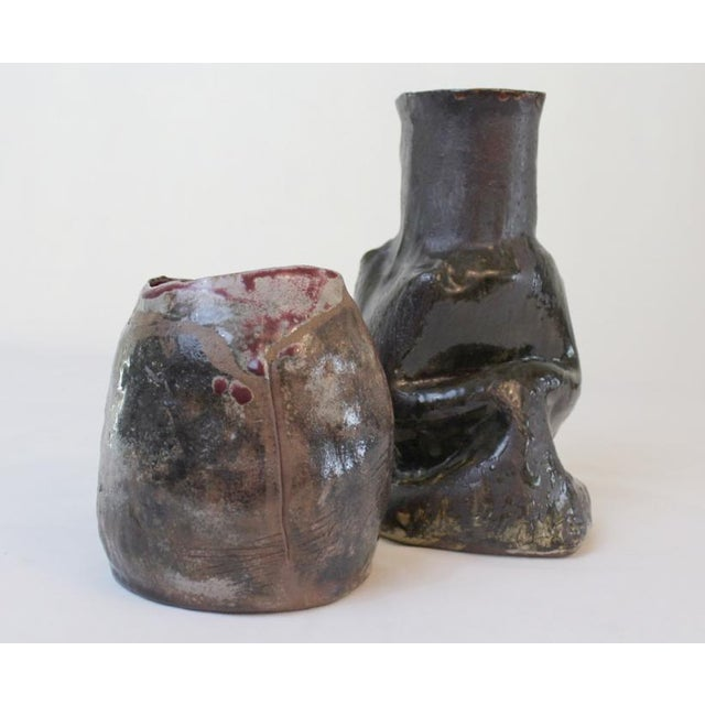 Brutalist Artisan Studio Pottery Vases- a Pair For Sale - Image 3 of 9