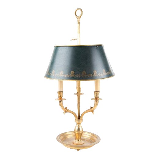 French Bouillotte Lamp With Green Tôle Shade - Image 1 of 6