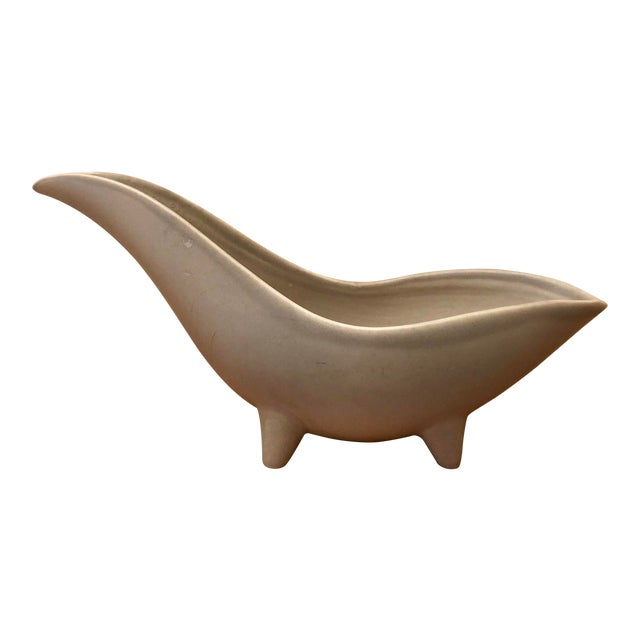 Mid-Century Modern Gray Footed Ceramic Planter For Sale