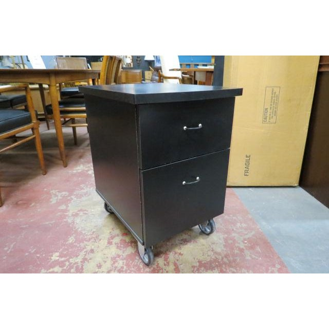 Vintage Industrial 2 Drawer Black Laminate File Cabinet For Sale In Chicago - Image 6 of 6