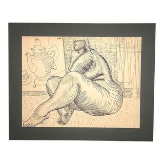Original Vintage Stylized Ink Drawing by W. Glen Davis-Signed-Female Nude For Sale