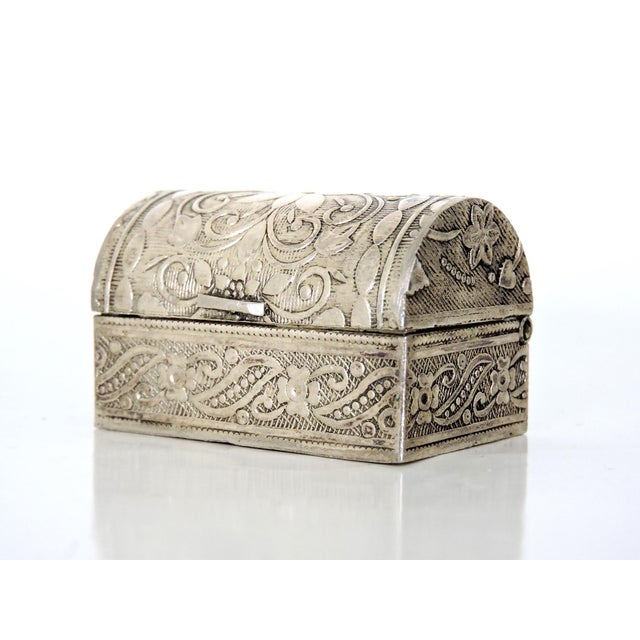 Metal Miniature Silver Chest/Snuff Box For Sale - Image 7 of 7