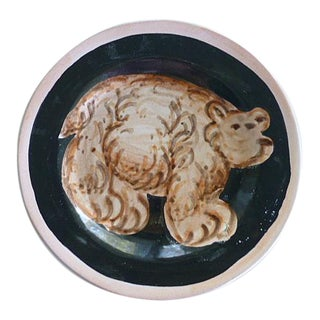 Brown Bear Art Pottery Plate by Amen Wardy Aspen Colorado For Sale