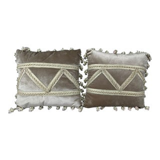 French Velvet Pillows With Embroidered Braids - a Pair For Sale