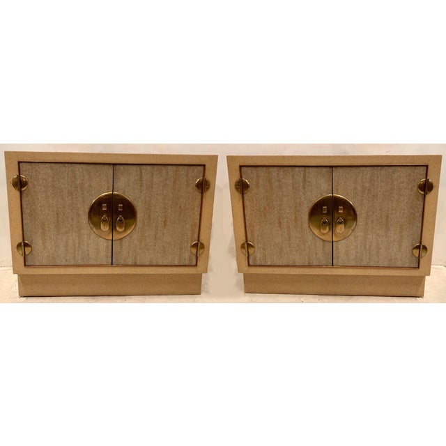 Brass Pair of Cerused Asian Modern Cabinets For Sale - Image 7 of 7