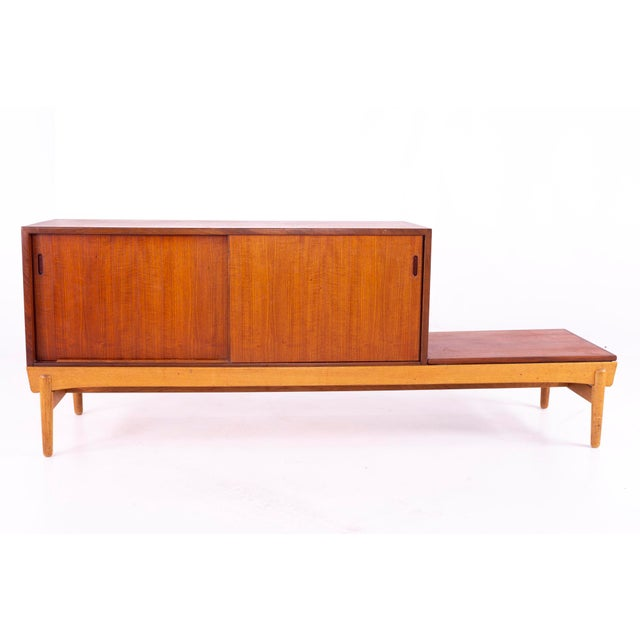 Danish Teak Mid Century Reversible Seat Foyer Entry Storage Bench For Sale In Chicago - Image 6 of 9