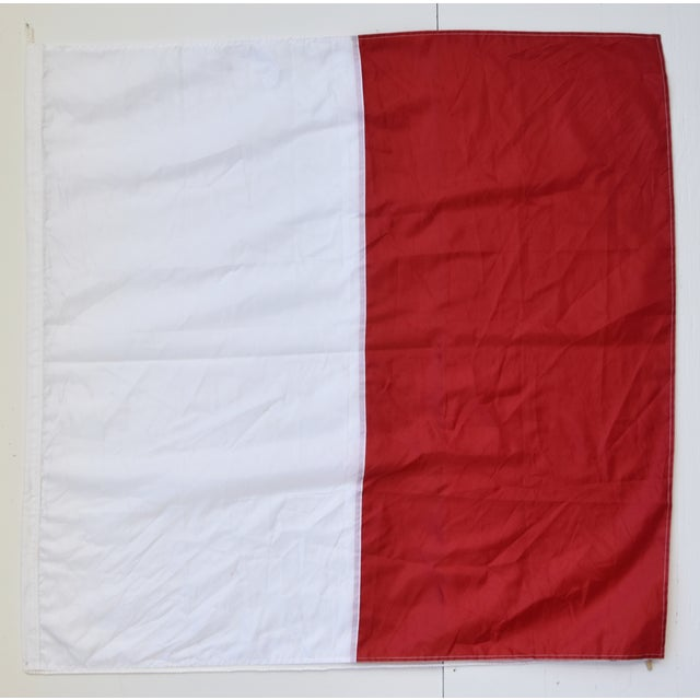 """Vintage red and white maritime nautical naval signal """"H Hotel"""" code flag. This flag is the international maritime..."""