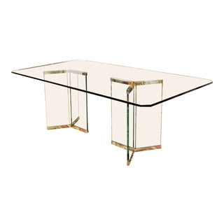 Vintage Pace Mid Century Modern Sculptural Rectangular Glass Chrome Dining Table For Sale