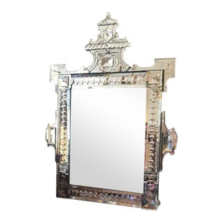 Antique Venetian Style Beveled Wall Mirror With Floral Etched Glass For Sale