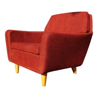 Mid-Century Modern Folke Ohlsson for Dux Swedish Red Lounge Chair For Sale