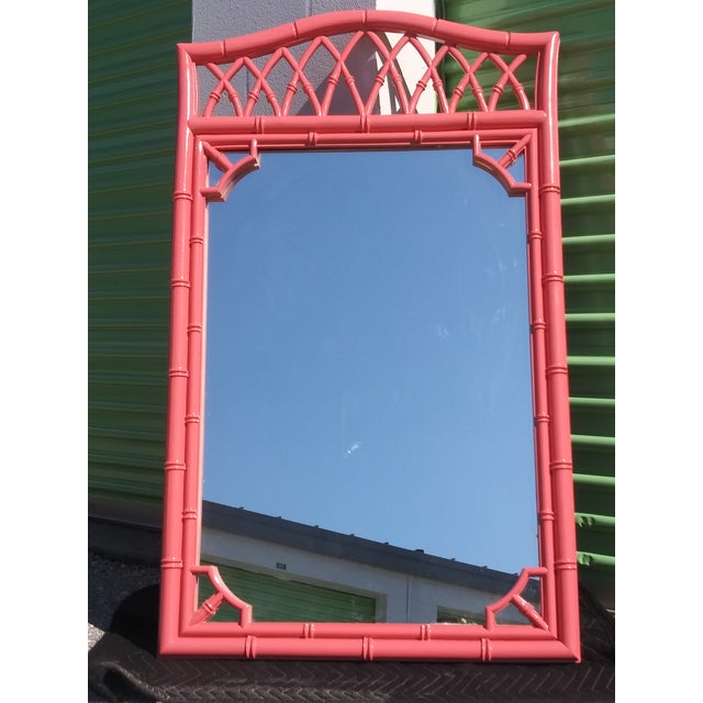Palm Beach Flamingo Pink Faux Bamboo Wall Mirror For Sale - Image 11 of 11