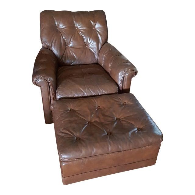 Vintage Drexel Heritage Tufted Leather Armchair & Ottoman ...
