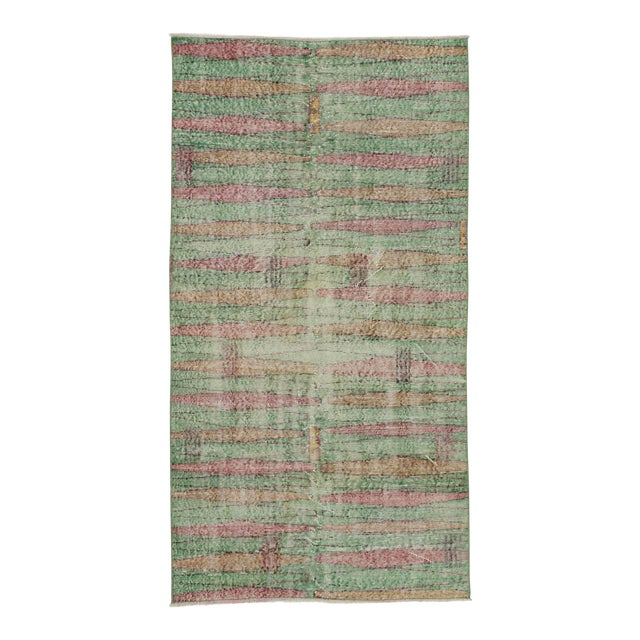 Distressed Vintage Turkish Art Deco Style Green Rug - 3′5″ × 6′5″ - Image 1 of 6