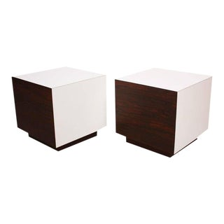 Diminutive Rosewood and Laminate Cube End Tables For Sale