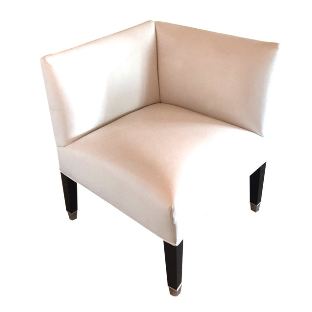 Mitchell Gold White Leather Corner Chair For Sale