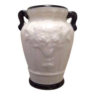 1980s Japanese White and Black Ceramic Urn Vase For Sale