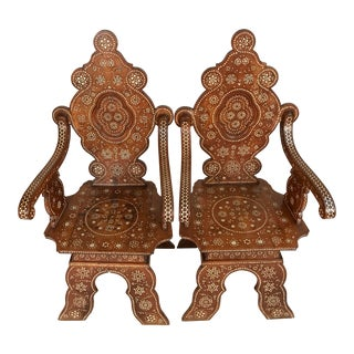 1910s Syrian Sgabello Walnut Armchairs With Bone Inlay - a Pair