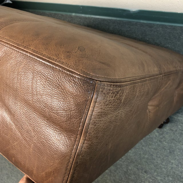 Brown Tufted Leather Ottoman, by Ballard Designs For Sale - Image 8 of 10