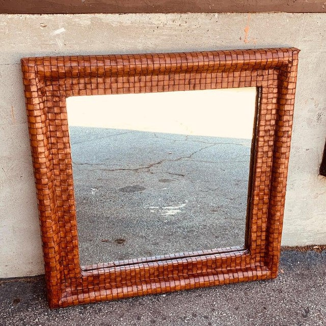 Mid 20th Century French Modern Woven Leather Mirror For Sale - Image 5 of 7