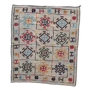 Wool Hand Woven Tribal Embroidered Rug 5.5x6.6 For Sale