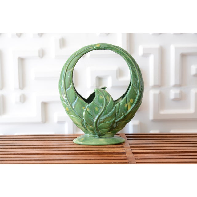 1930s Ceramic Green Planter For Sale - Image 6 of 6