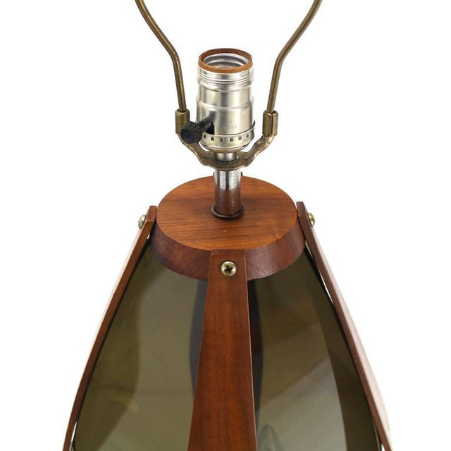 Walnut Pair of Mid-Century Modern Walnut Table Lamps For Sale - Image 7 of 9