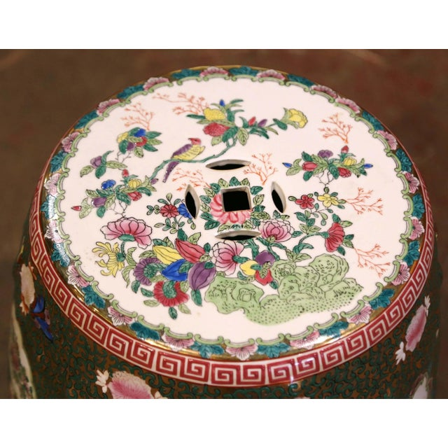 Green Mid-Century Chinese Porcelain Garden Stool With Bird and Floral Decor For Sale - Image 8 of 13