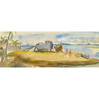 Stephane Magnard, Vintage French Watercolor Landscape - Madagascar Beach For Sale