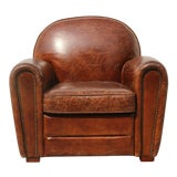 Image of Pasargad Brown Leather Paris Club Chair For Sale