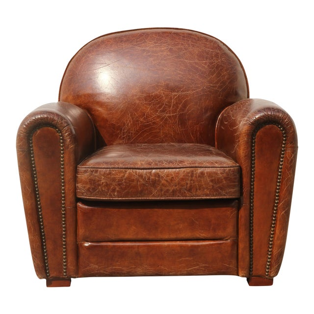 Pasargad Brown Leather Paris Club Chair For Sale