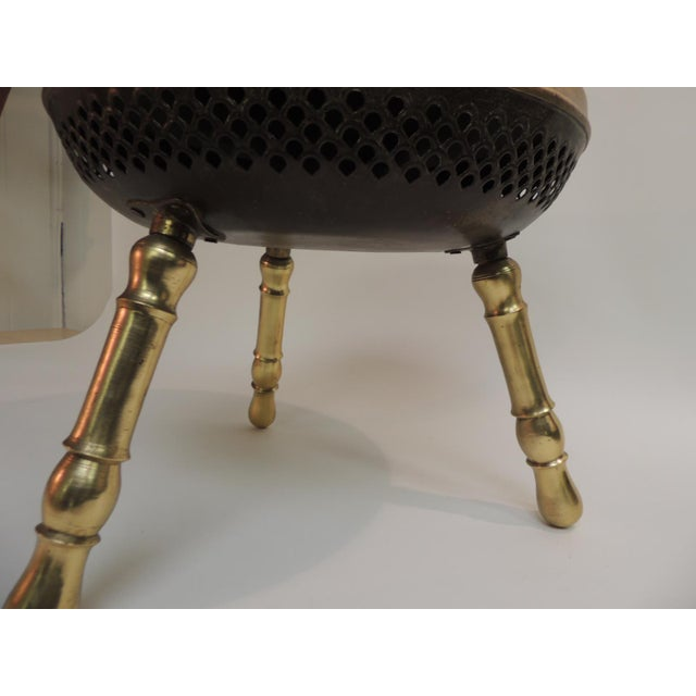 Boho Chic Vintage Round Indian Brass Milking Stool For Sale - Image 3 of 5