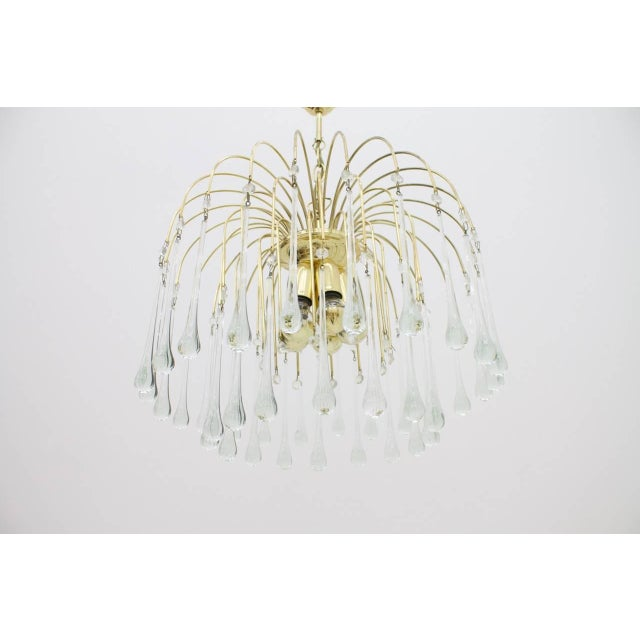Christoph Palme Waterfall Chandelier Brass and Glass, Germany, 1970s For Sale - Image 9 of 10