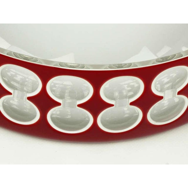 1980s Hungarian Hand-Cut Red and White Cased Glass Bowl For Sale - Image 5 of 6