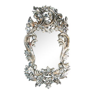 Transitional Handcut Glass Scroll Mirror For Sale