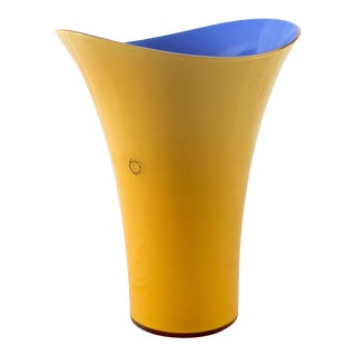 Blue & Yellow Asymmetric Murano Glass Vase by v. Nason & C., Italy For Sale