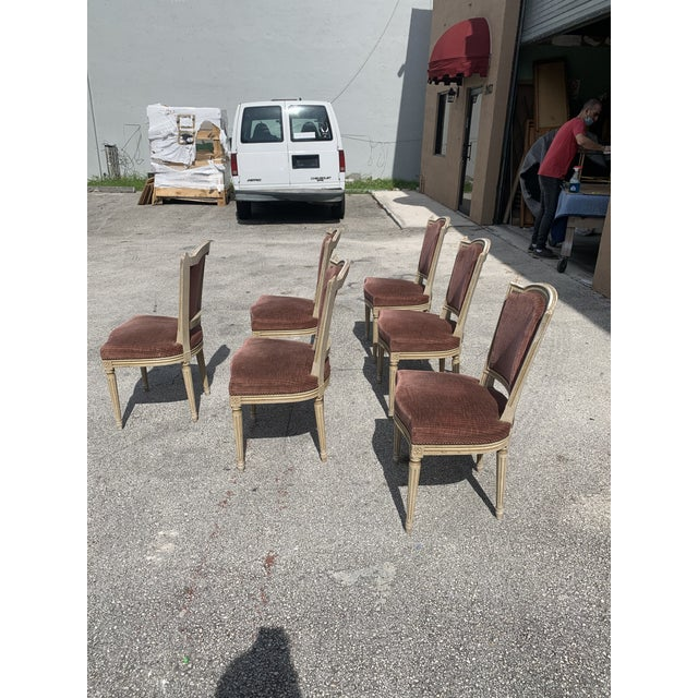 Ruby Red 1910s Vintage French Louis XVl Solid Mahogany Dining Chairs - Set of 6 For Sale - Image 8 of 13
