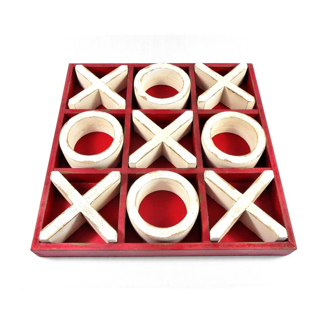 Rustic Rustic Wood Tic Tac Toe Game For Sale - Image 3 of 9