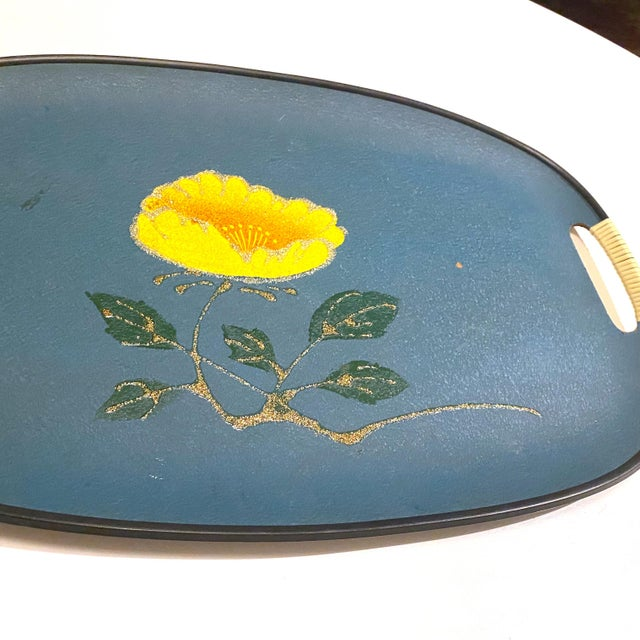 Vintage Mid-Century Turquoise Fiberboard Large Oval Serving Tray For Sale - Image 4 of 8