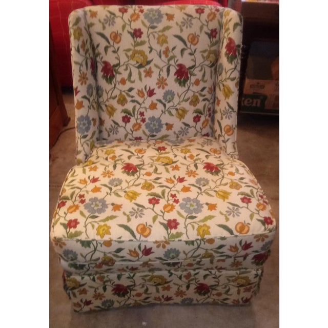 Mid 20th Century 20th Century Shabby Chic Floral Print Accent Chair For Sale - Image 5 of 7