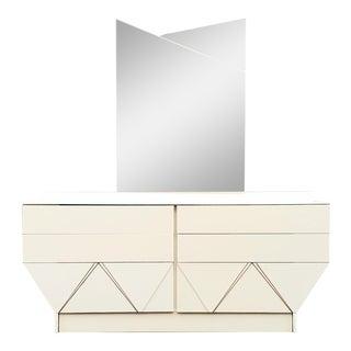 1980s Italian Ivory Laminate Dresser & Mirror For Sale