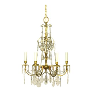 French Directoire Style Gilt Bronze and Crystal Chandelier For Sale