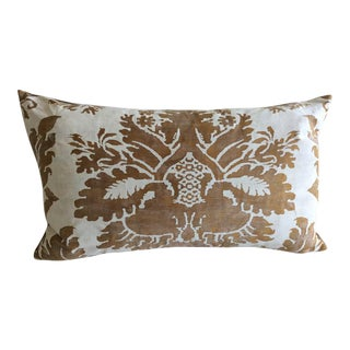 "Fortuny Pillow ""Glicine"" Caramel and White Pillow For Sale"