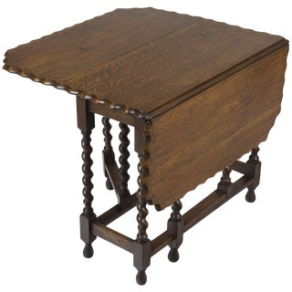 1920s Jacobean Barley Twist Gate Leg Drop Leaf Oak Side Table For Sale