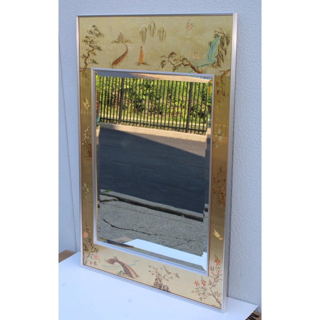 Mid-Century Modern La Barge Mid-Century Modern Hand Painted Chinoiserie Mirror For Sale - Image 3 of 11