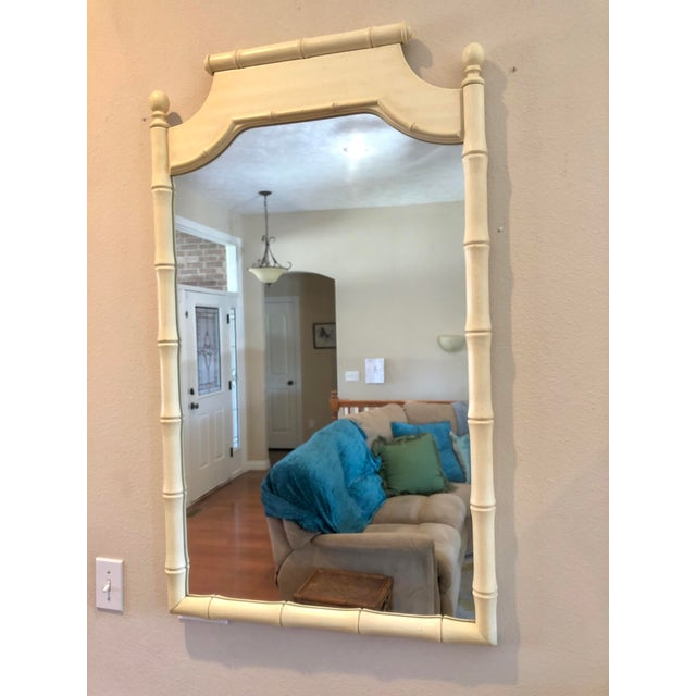 1970s Vintage Faux Bamboo Mirror For Sale - Image 5 of 5