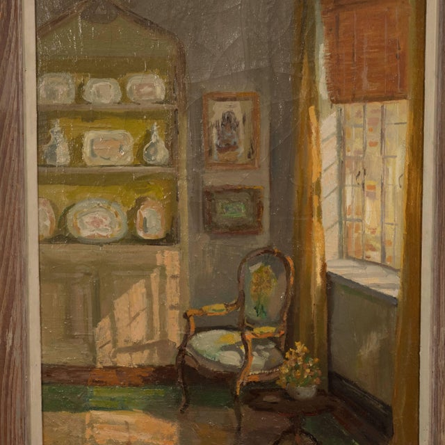 Paint Framed Oil Painting of an Interior For Sale - Image 7 of 11